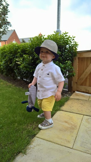 Ethan On The Front Garden Yellow Shorts May 2017