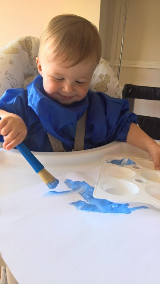 Ethan Painting With Blue Paint June 2017