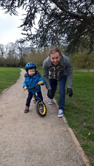 Ethan Racing Me On The Bike March 2019