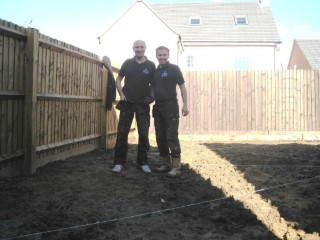 Dad And I Levelling The Garden