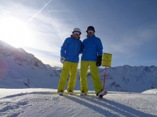Dad And I Mountain Skiing Les Arcs Jan 2020