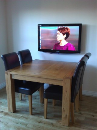 Dining Room Wall Mounted Tv And Table