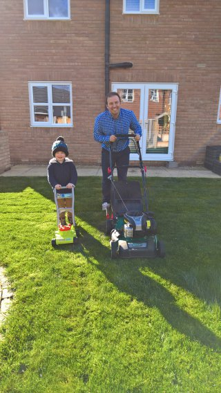 Ethan And I Ethan And I Mowing Lawn March 2019
