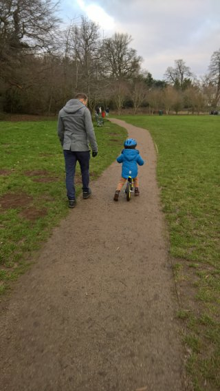 Ethan And I First Ride On The Balance Bike Dec 2018