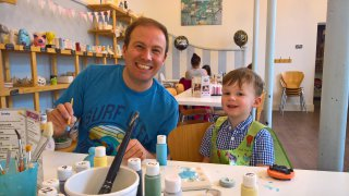 Ethan And I Pottery Painting August 2019