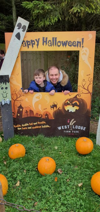Ethan And I Sign Pumpkin Picking West Lodge Farm Park Oct 2020