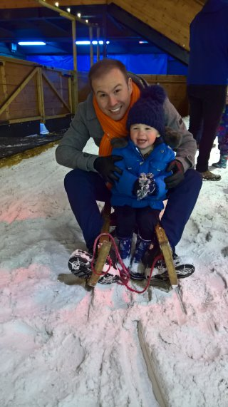 Ethan And I Sledge Snow Play Tamworth Snow Dome Oct 2018