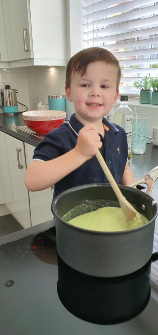 Ethan Cooking Making Playdough July 2020