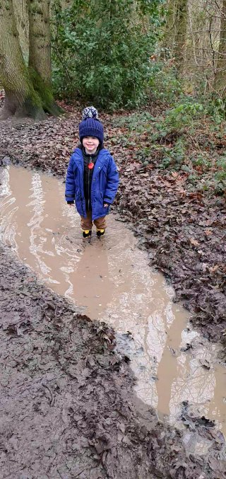 Ethan Deep Puddle Winter Day Out Dec 2019