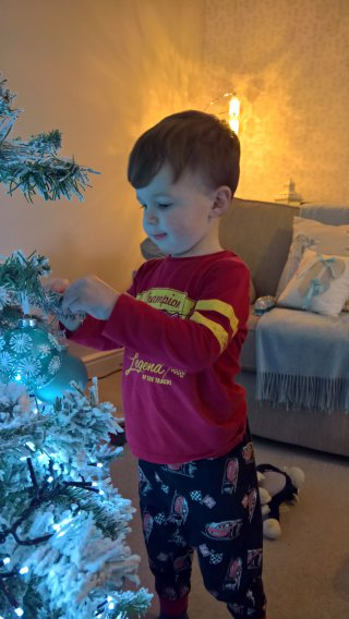 Ethan Front Putting Up The Christmas Tree Dec 2018