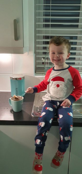 Ethan Making Tea Daddy Day Dec 2019