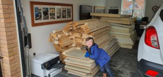 Ethan Piles Third Load Of Wood For Lego Room Feb 2020