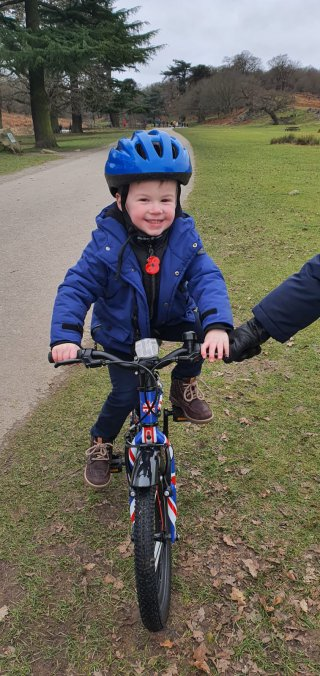 Ethan Riding Bike Bradgate Park Jan 2020