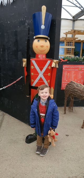 Ethan Soldier Meeting Santa Palmers Garden Centre Christmas Eve Dec 2019