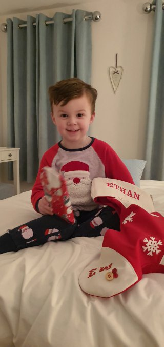 Ethan Stocking Christmas Day Dec 2019