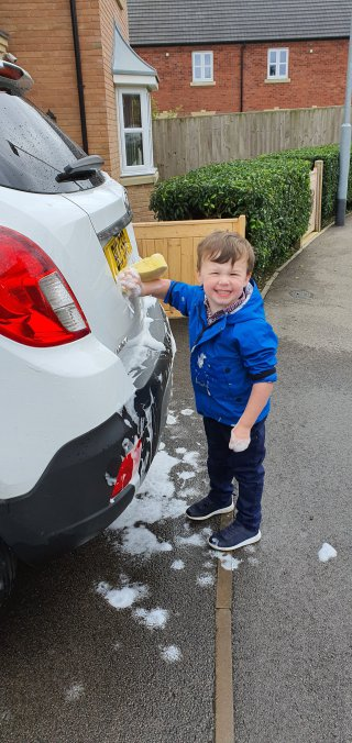 Ethan Washing Mokka Both Car Washed Sept 2020