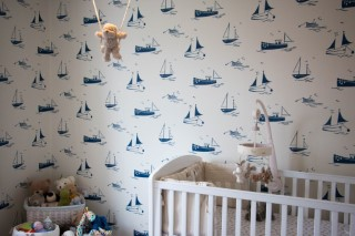 Ethans Decorated Room Harlequin Sail Away Main Wall June 2016