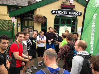 Me Chatting Bottom Racing The Train Snowdon Sept 2013