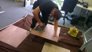 Me Cutting Wood Mmt Speakers July 2012