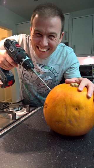 Me Drilling Pumpkin Carving October 2017