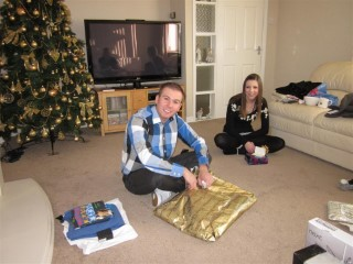 Me Unwrapping Xmas 2010