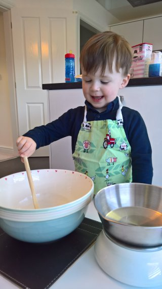 Mixing Ethan Making Cakes March 2019