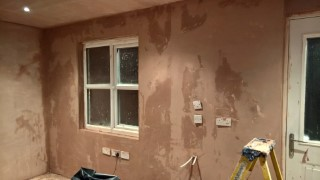 Plastering The Garage Back Wall February 2016