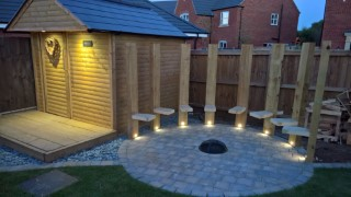 Shed And Circle Garden Lights In The Night June 2017