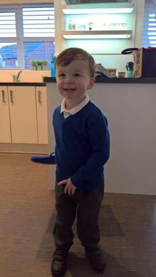 Uniform Ethans First Day Of Pre School Jan 2019