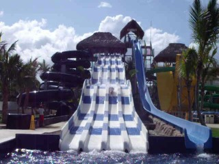 on the blue and white water slide dominican republic 2014