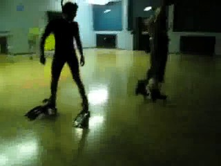 skating backwards with flippers on