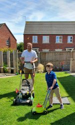 Ethan And I Mowing Lawn Outside Day July 2020
