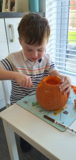 Ethan Carving Pumpkin Busy Day Oct 2020