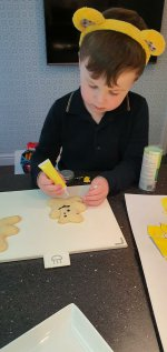 Ethan Decorating Pudsey Biscuits And Diva Lamps Nov 2020