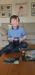 Ethan Finished Building Technic Lego Pull Back Racer Feb 2021