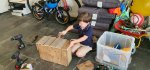 Ethan Hammering Recycled Wood Plant Box Aug 2020