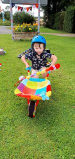 Ethan Knitted Wheelbarrow Combine Harvester Bike Ride Aug 2020