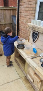 Ethan Playing Building Mud Kitchen Part 2 May 2020