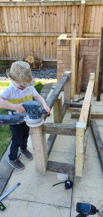 Ethan Sanding Frame Building Mud Kitchen Part 1 June 2020