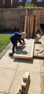 Ethan Sanding Top Building Mud Kitchen Part 1 June 2020