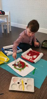 Ethan Working Coloured Rice Rangoli Patterns Nov 2020