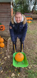 Me Wheel Barrow Pumpkin Picking West Lodge Farm Park Oct 2020